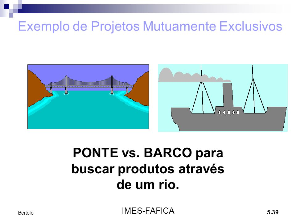 Exemplo de Projetos Mutuamente Exclusivos