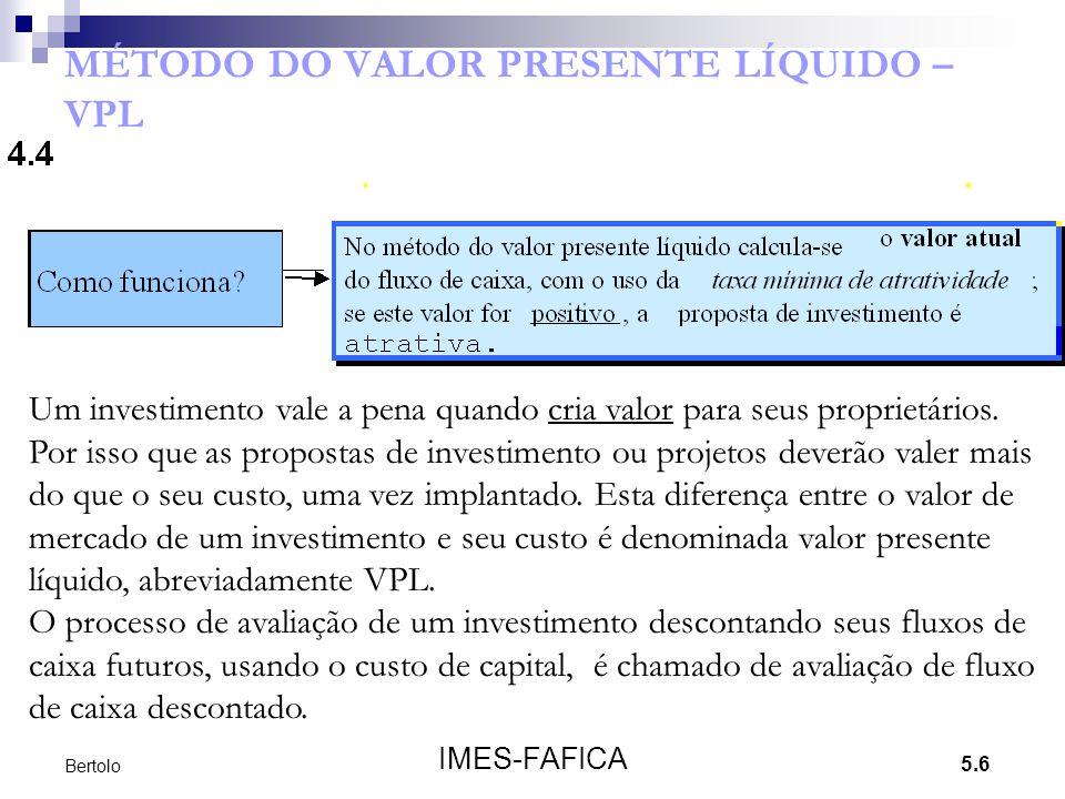 MÉTODO DO VALOR PRESENTE LÍQUIDO – VPL