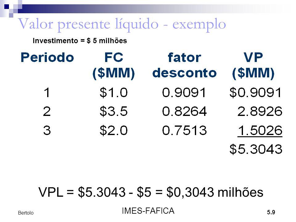 Valor presente líquido - exemplo