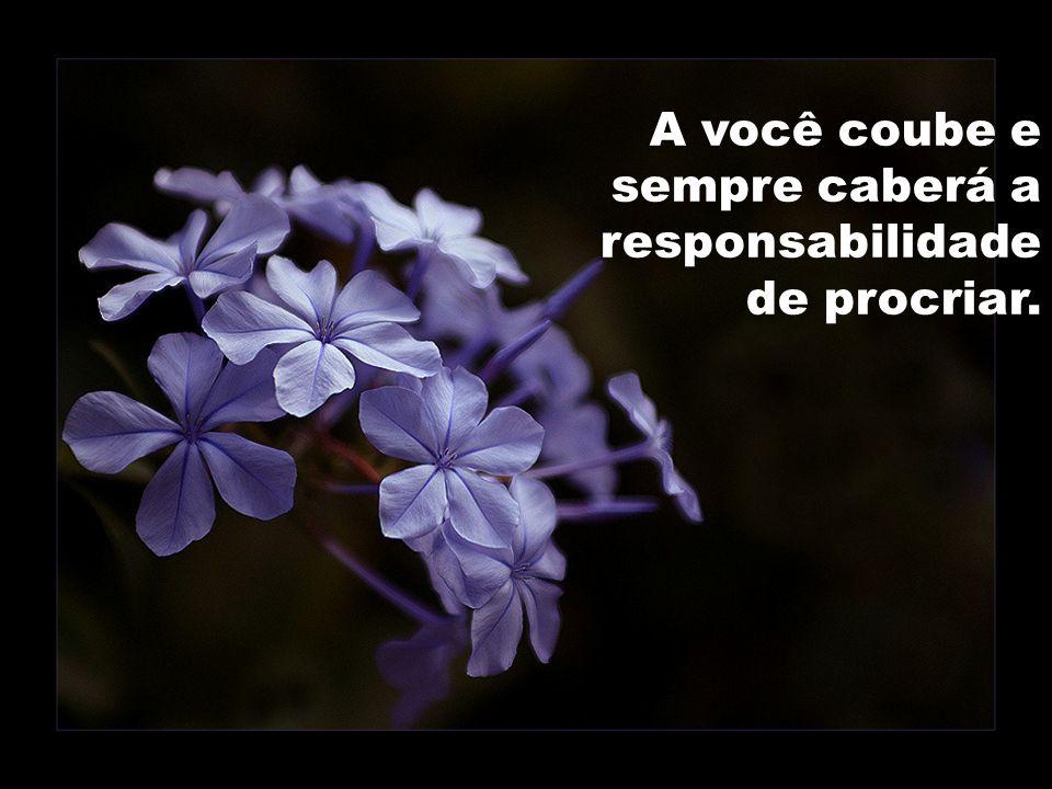 A você coube e sempre caberá a responsabilidade de procriar.