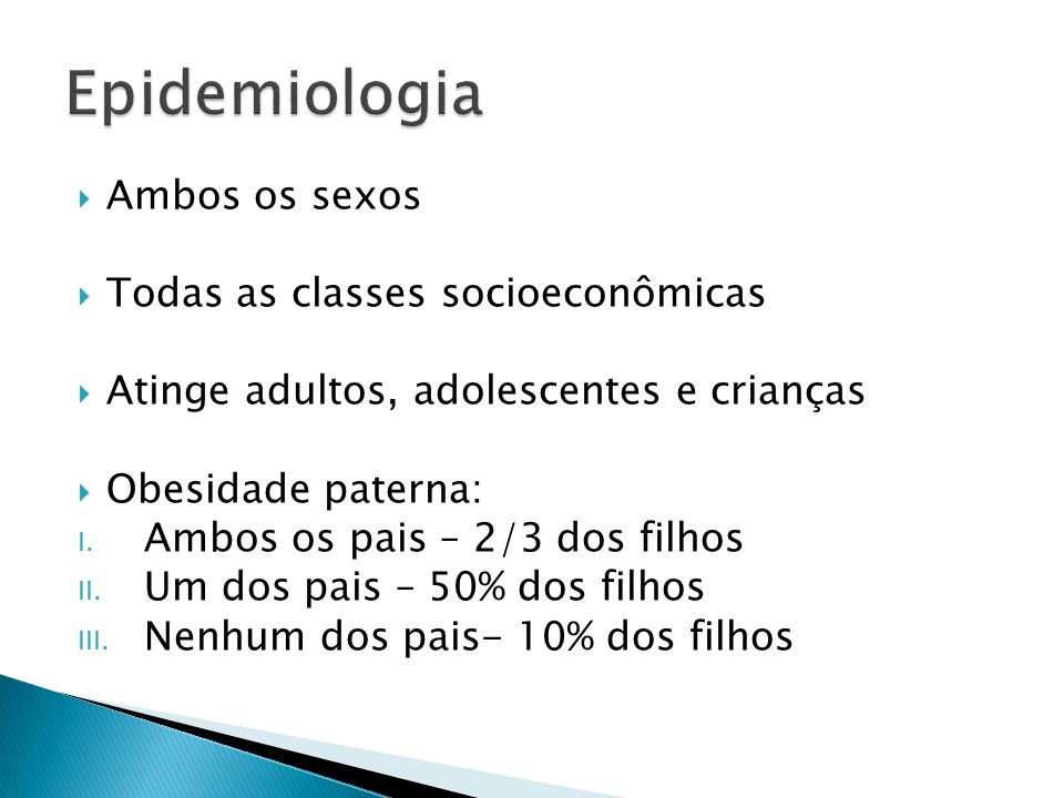 Epidemiologia Ambos os sexos Todas as classes socioeconômicas