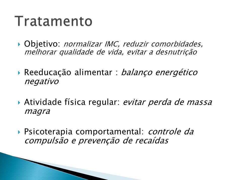 Tratamento Objetivo: normalizar IMC, reduzir comorbidades, melhorar qualidade de vida, evitar a desnutrição.