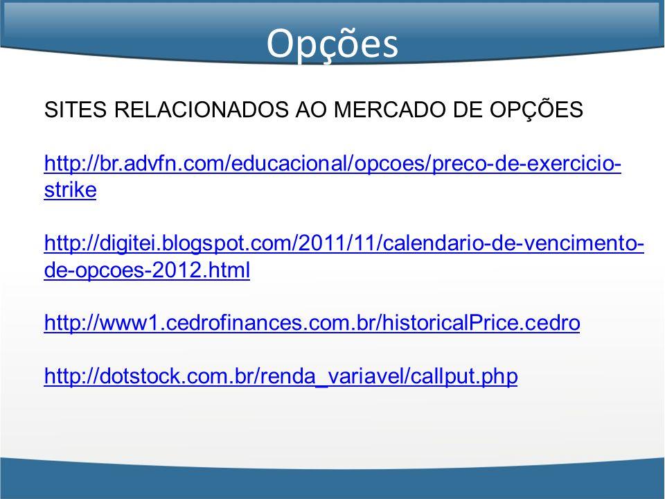 Opções SITES RELACIONADOS AO MERCADO DE OPÇÕES