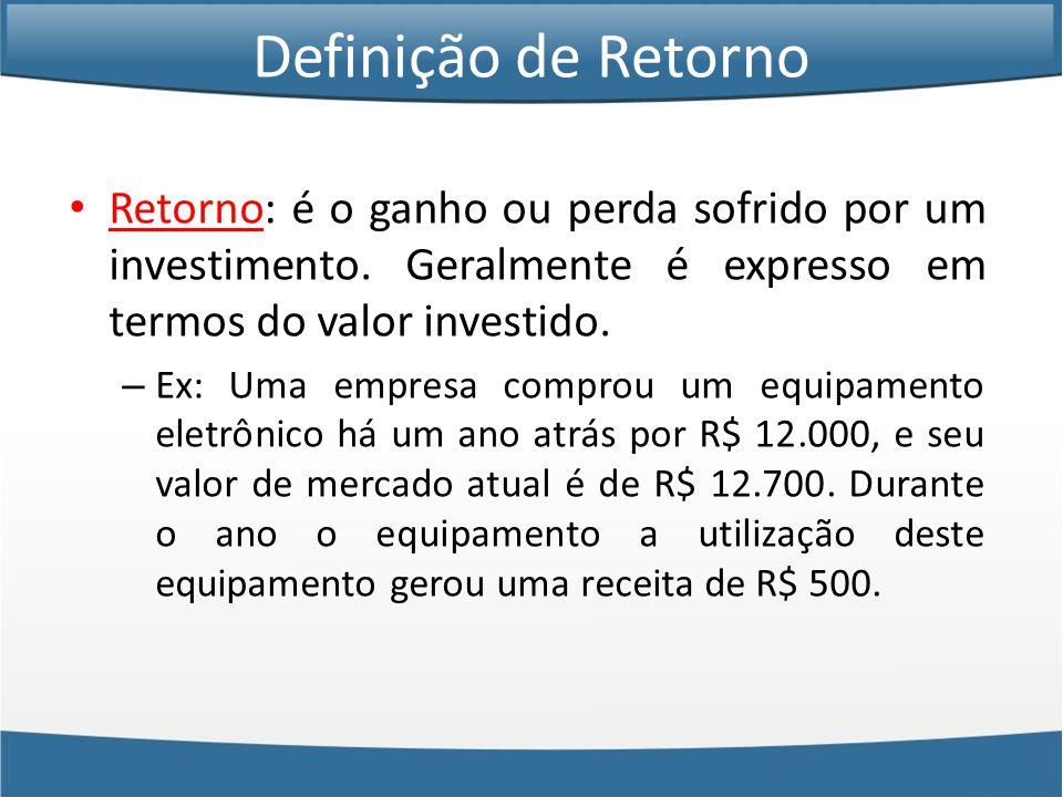 Definição de Retorno Retorno: é o ganho ou perda sofrido por um investimento. Geralmente é expresso em termos do valor investido.