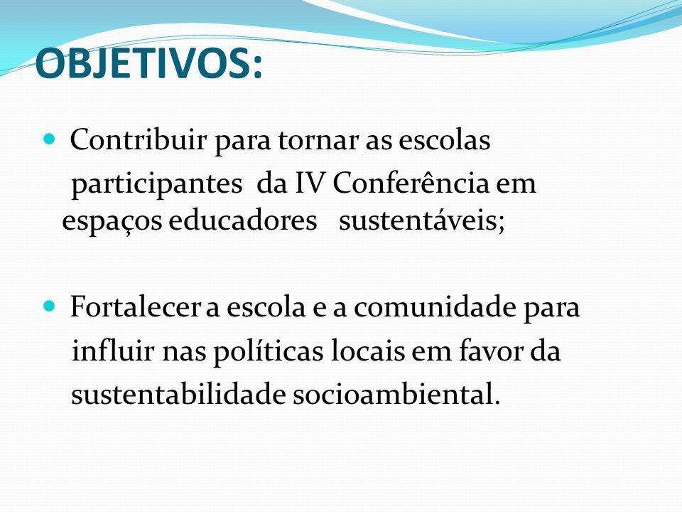 OBJETIVOS: Contribuir para tornar as escolas
