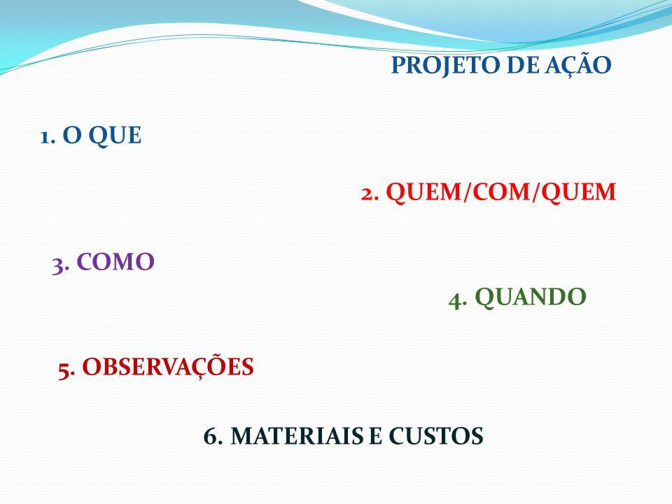 PROJETO DE AÇÃO 1. O QUE 2. QUEM/COM/QUEM 3. COMO 4. QUANDO 5
