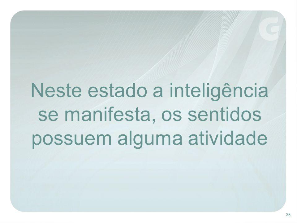 Neste estado a inteligência se manifesta, os sentidos possuem alguma atividade