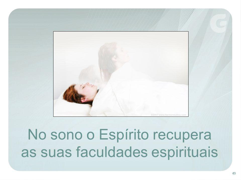 No sono o Espírito recupera as suas faculdades espirituais