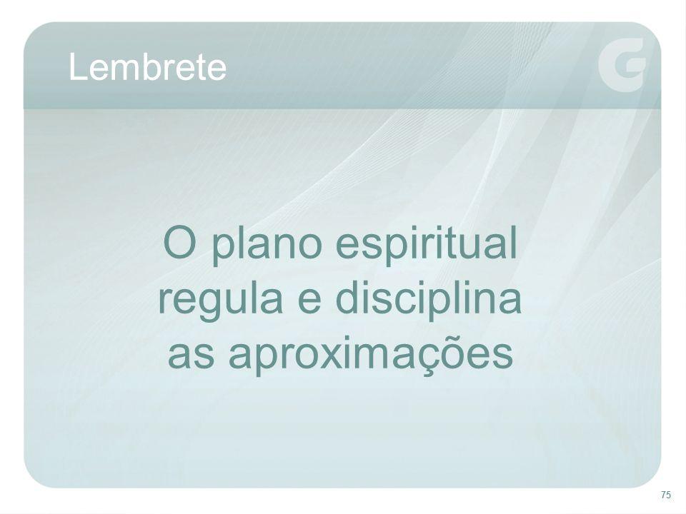 Lembrete O plano espiritual regula e disciplina as aproximações