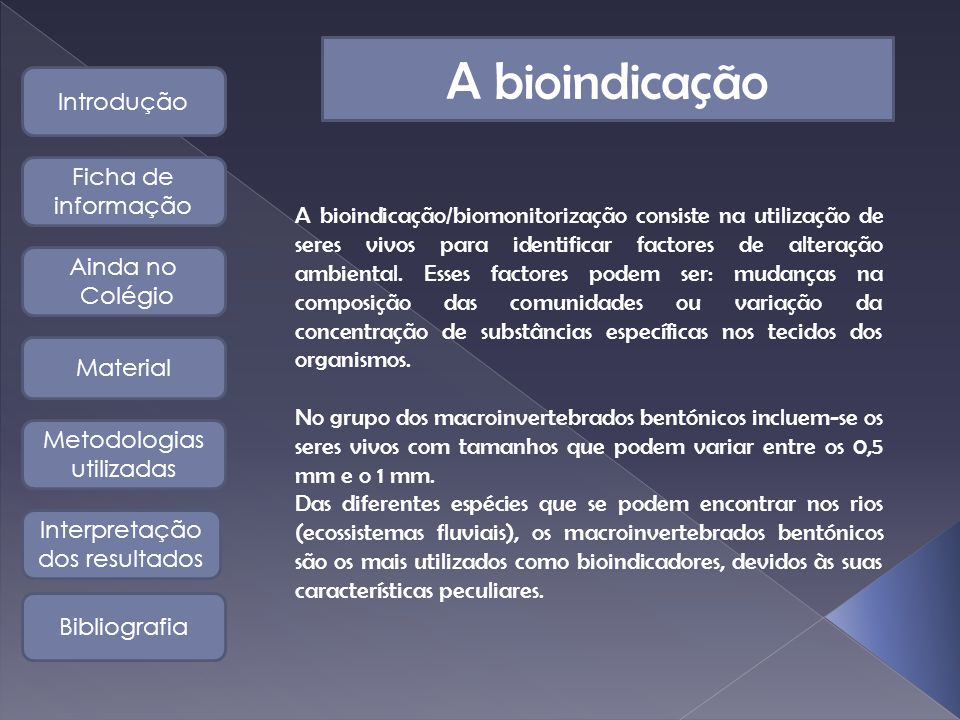 A bioindicação Introdução Ficha de informação