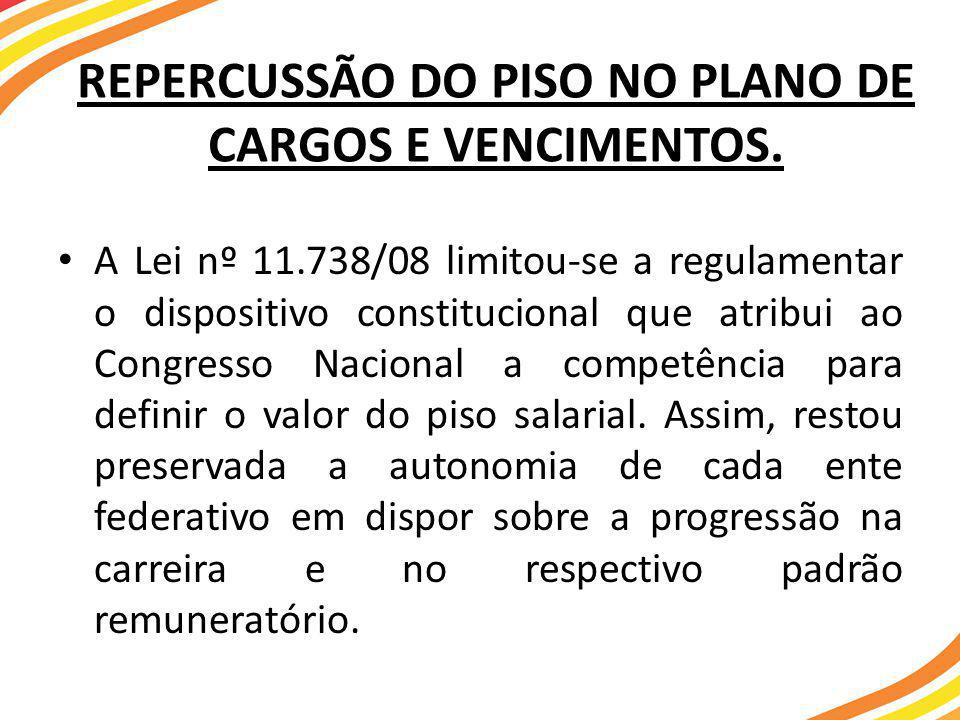 REPERCUSSÃO DO PISO NO PLANO DE CARGOS E VENCIMENTOS.