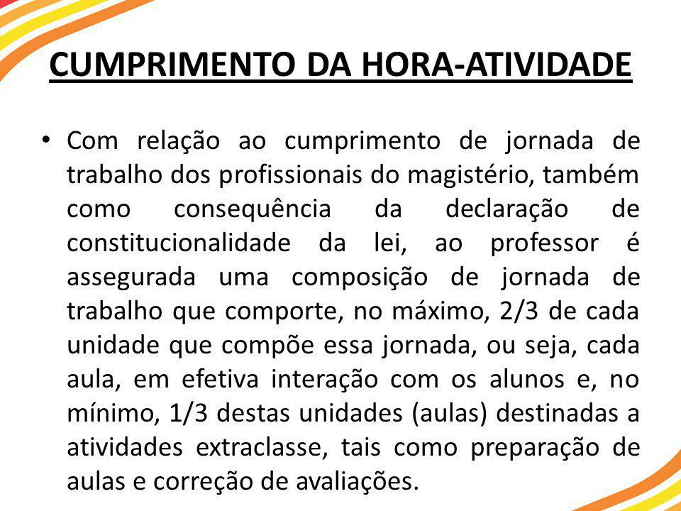 CUMPRIMENTO DA HORA-ATIVIDADE