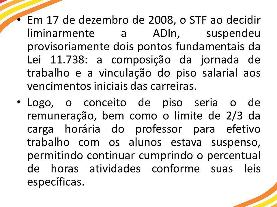 Em 17 de dezembro de 2008, o STF ao decidir liminarmente a ADIn, suspendeu provisoriamente dois pontos fundamentais da Lei 11.738: a composição da jornada de trabalho e a vinculação do piso salarial aos vencimentos iniciais das carreiras.