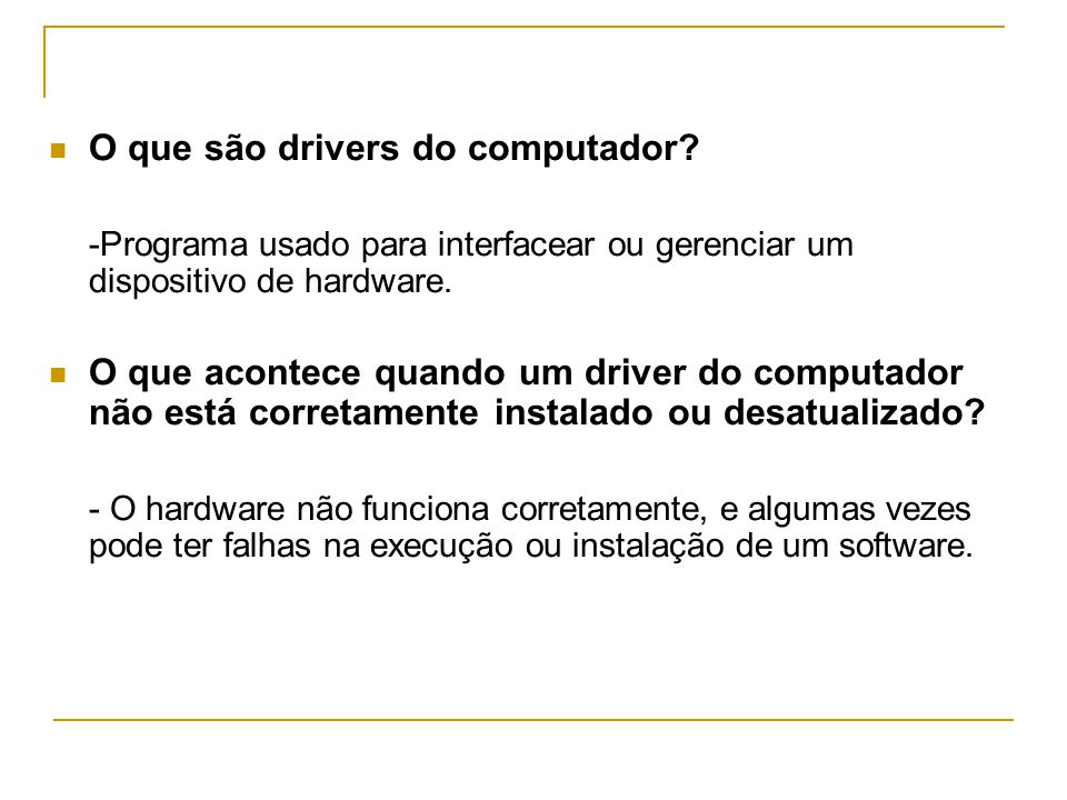 O que são drivers do computador