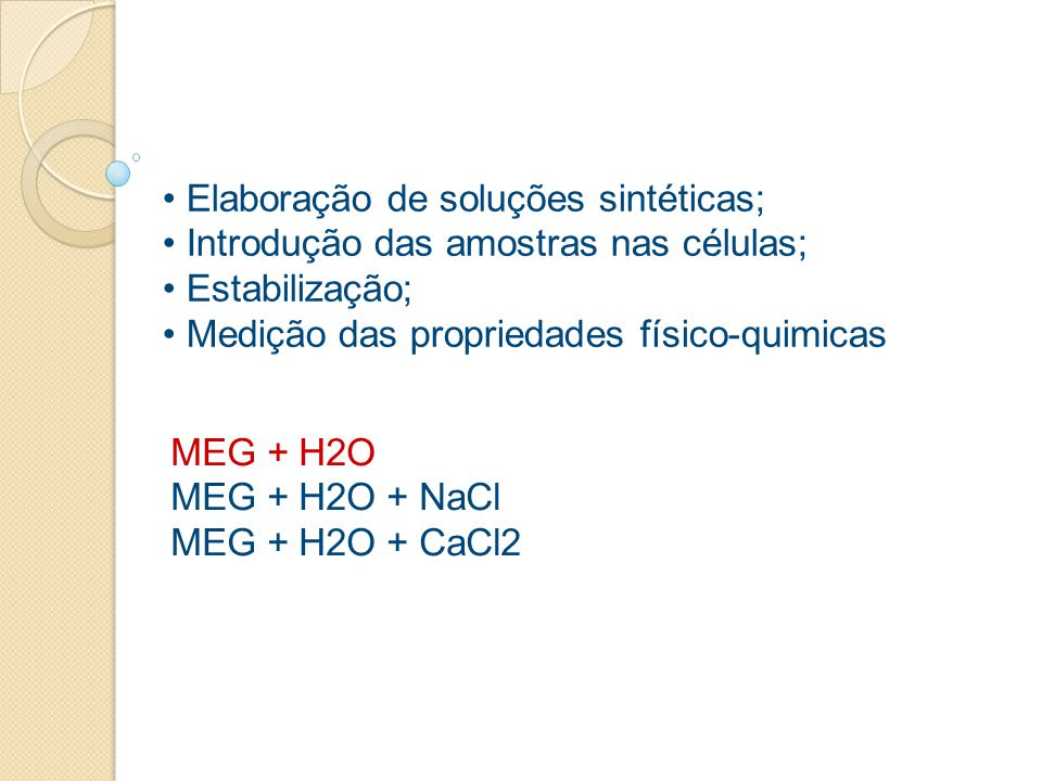 Elaboração de soluções sintéticas;