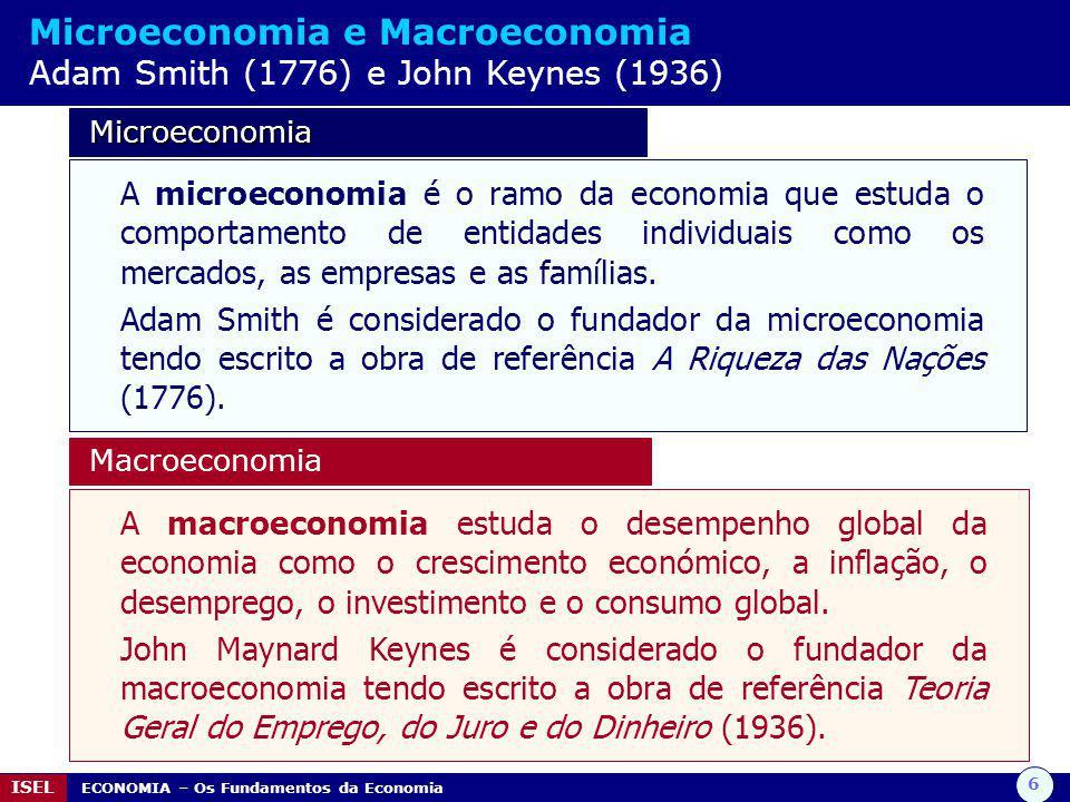 Microeconomia e Macroeconomia Adam Smith (1776) e John Keynes (1936)