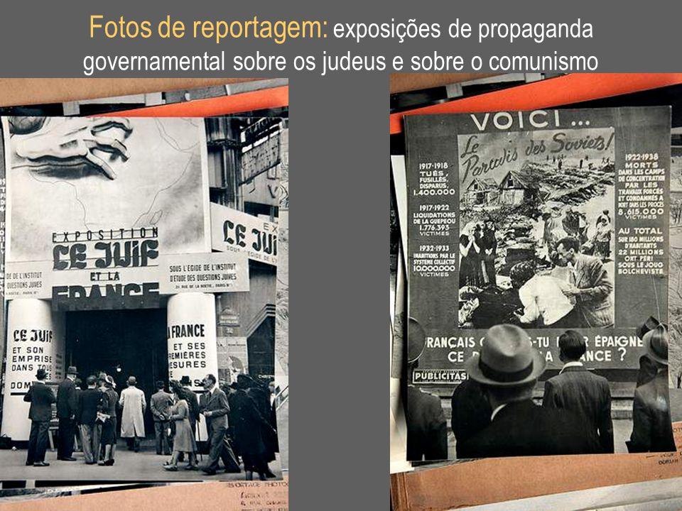 Fotos de reportagem: exposições de propaganda governamental sobre os judeus e sobre o comunismo