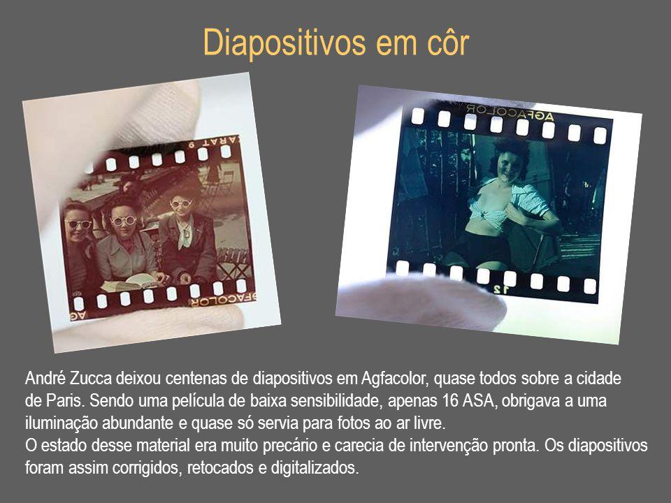 Diapositivos em côr André Zucca deixou centenas de diapositivos em Agfacolor, quase todos sobre a cidade.
