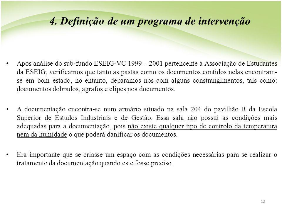 4. Definição de um programa de intervenção