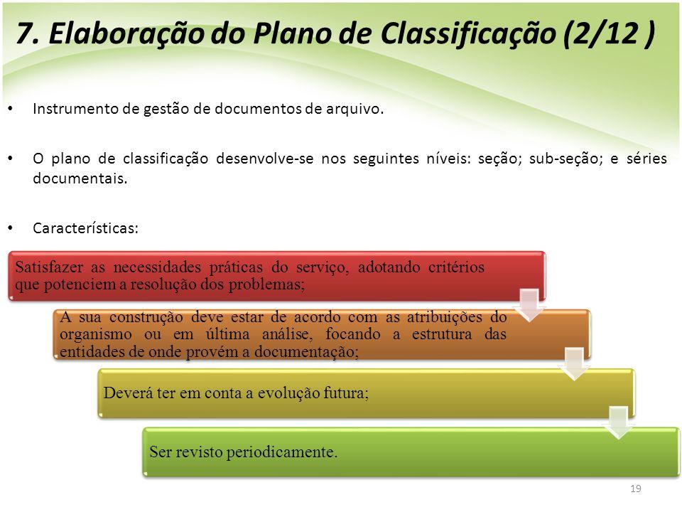 7. Elaboração do Plano de Classificação (2/12 )