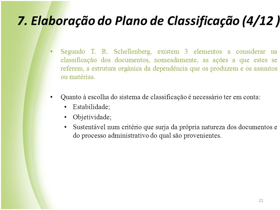 7. Elaboração do Plano de Classificação (4/12 )