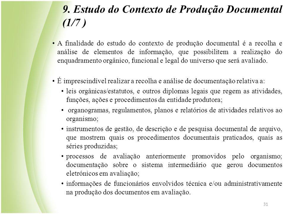 9. Estudo do Contexto de Produção Documental (1/7 )