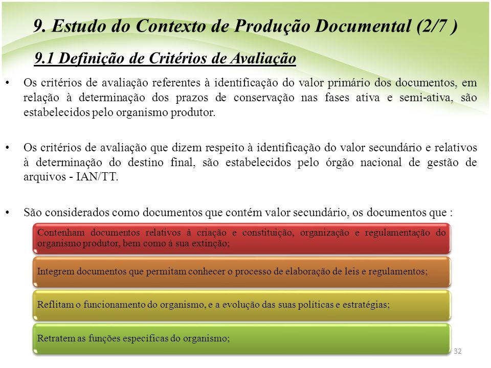 9. Estudo do Contexto de Produção Documental (2/7 )