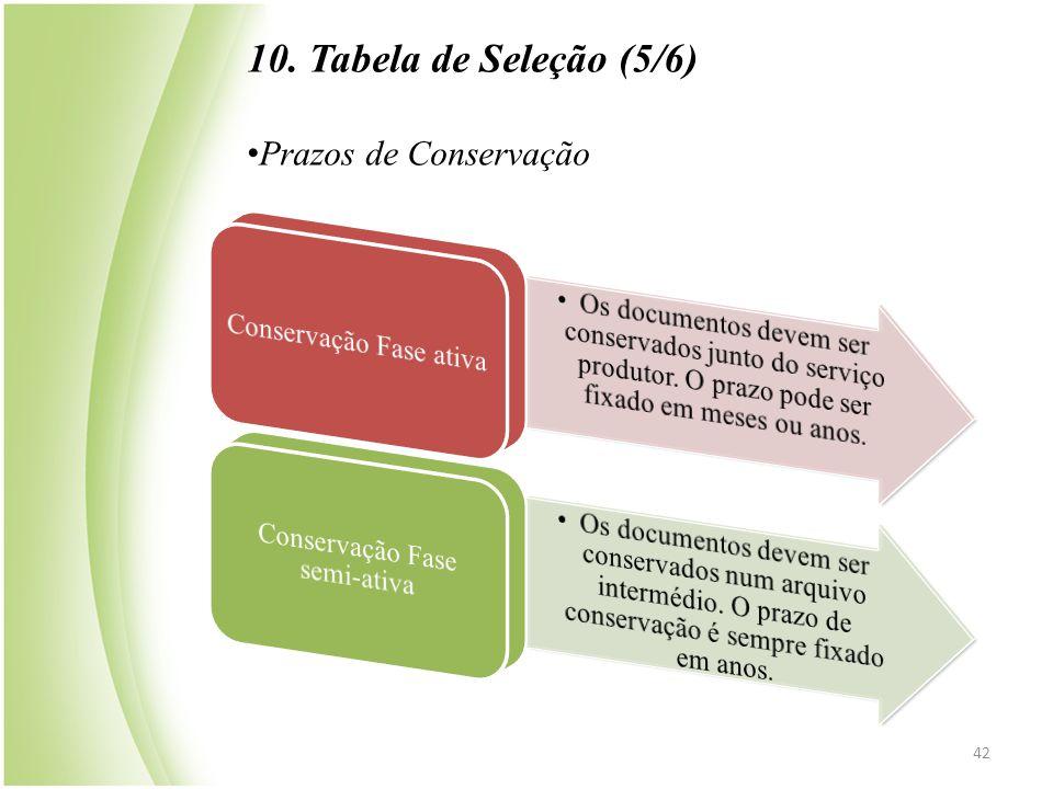10. Tabela de Seleção (5/6) Prazos de Conservação