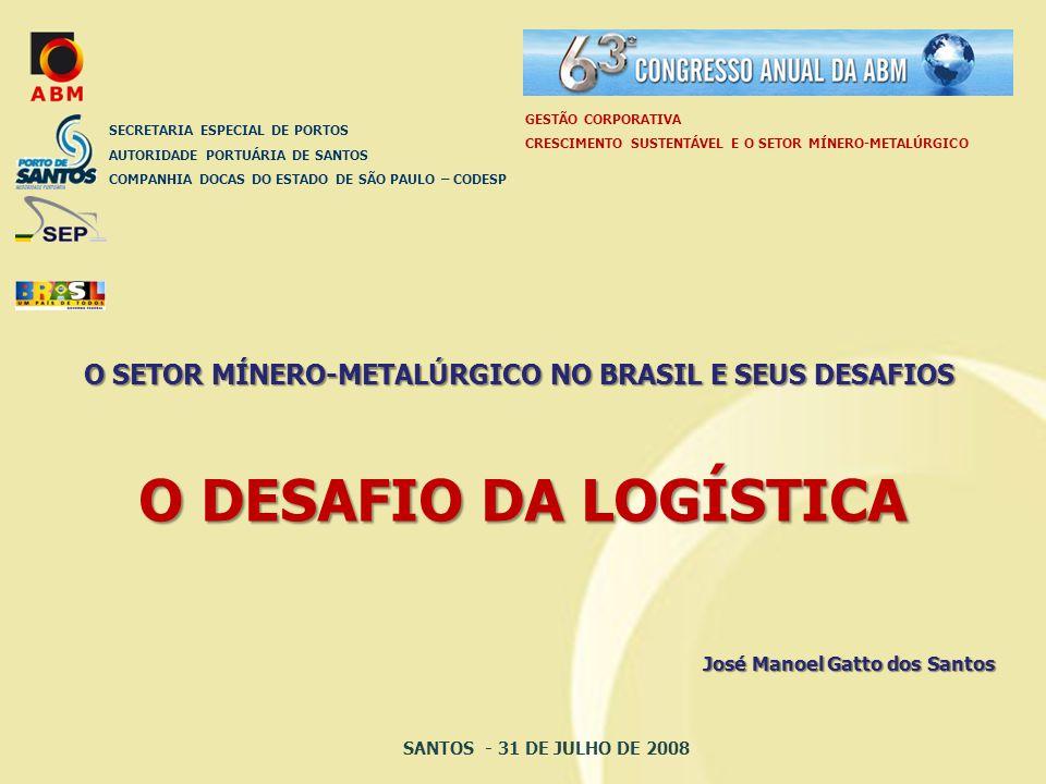 GESTÃO CORPORATIVA CRESCIMENTO SUSTENTÁVEL E O SETOR MÍNERO-METALÚRGICO. SECRETARIA ESPECIAL DE PORTOS.