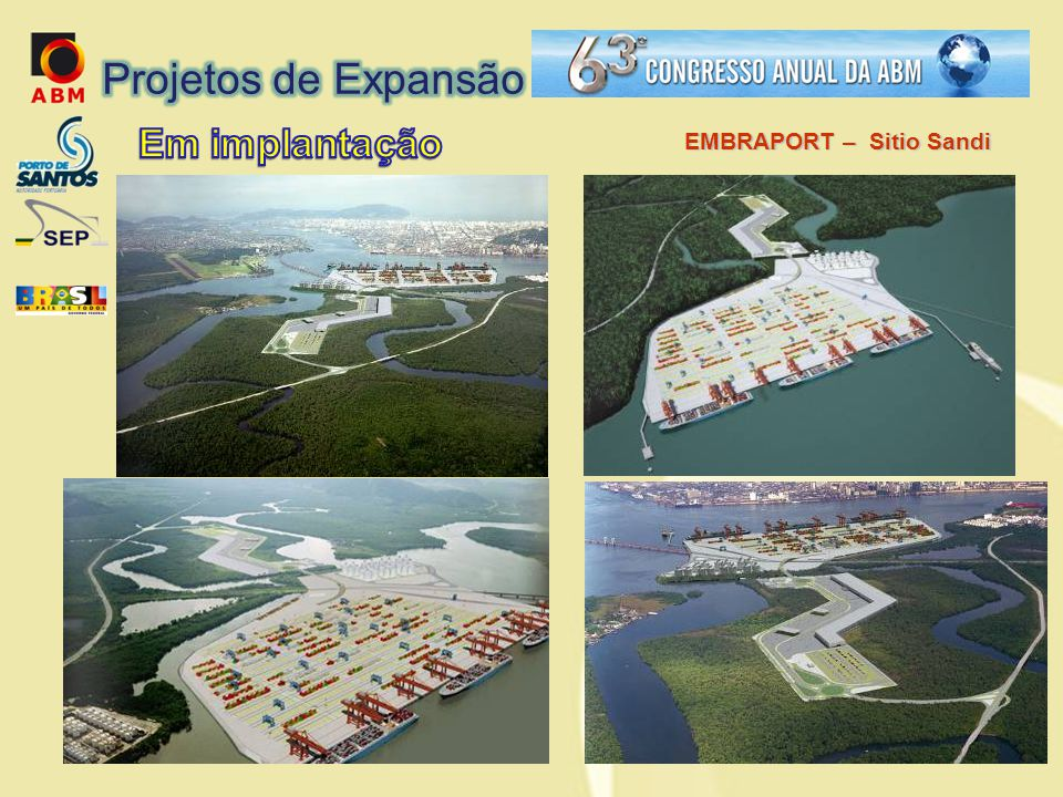 Projetos de Expansão Em implantação EMBRAPORT – Sitio Sandi