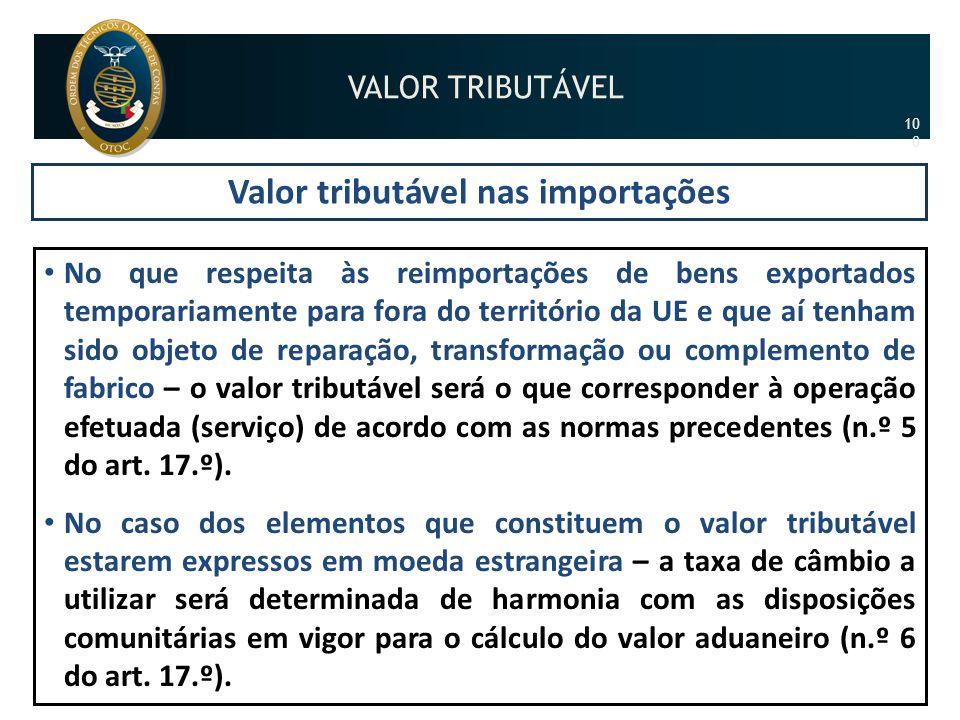 Valor tributável nas importações