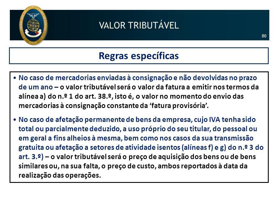Regras específicas VALOR TRIBUTÁVEL