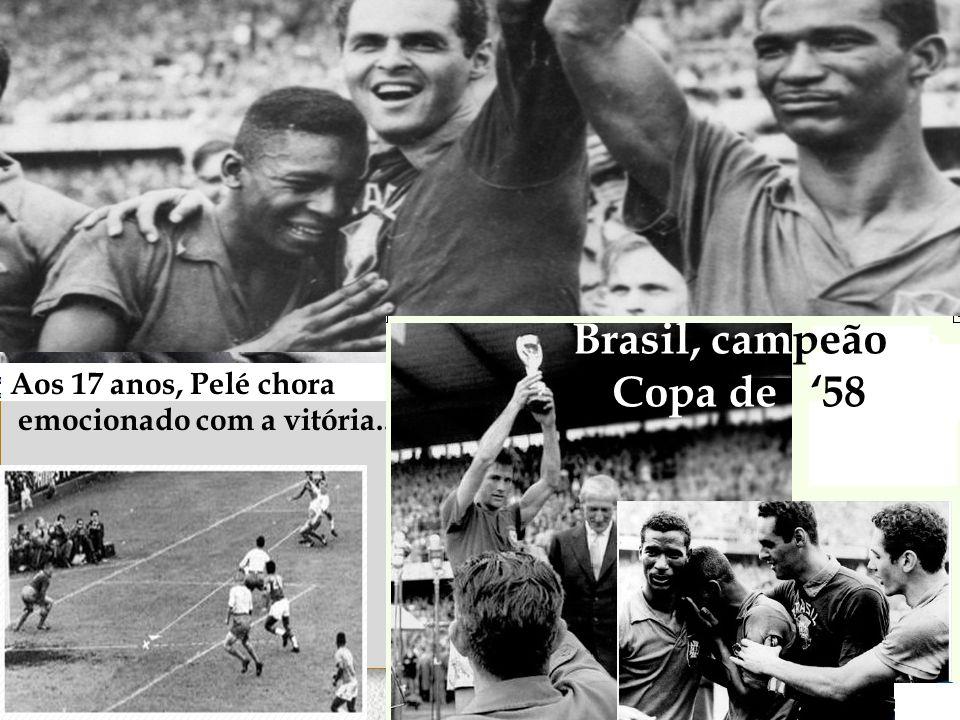 Brasil, campeão da Copa de '58 Aos 17 anos, Pelé chora