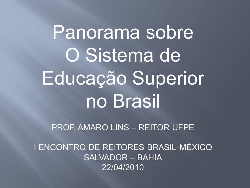 Panorama sobre O Sistema de Educação Superior no Brasil