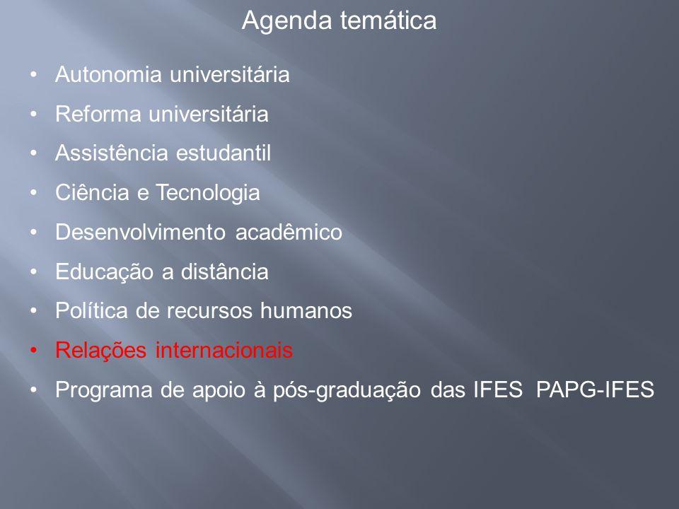 Agenda temática Autonomia universitária Reforma universitária
