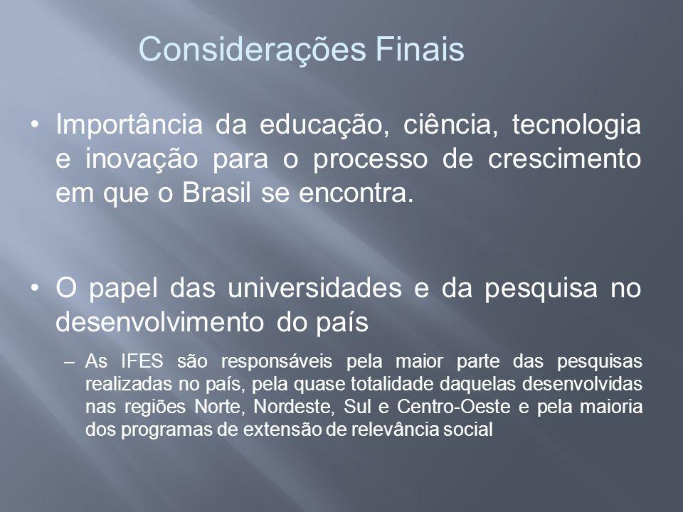 Considerações Finais Importância da educação, ciência, tecnologia e inovação para o processo de crescimento em que o Brasil se encontra.