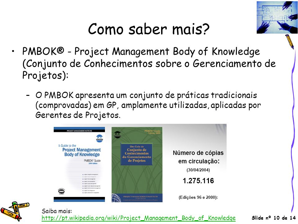 Como saber mais PMBOK® - Project Management Body of Knowledge (Conjunto de Conhecimentos sobre o Gerenciamento de Projetos):