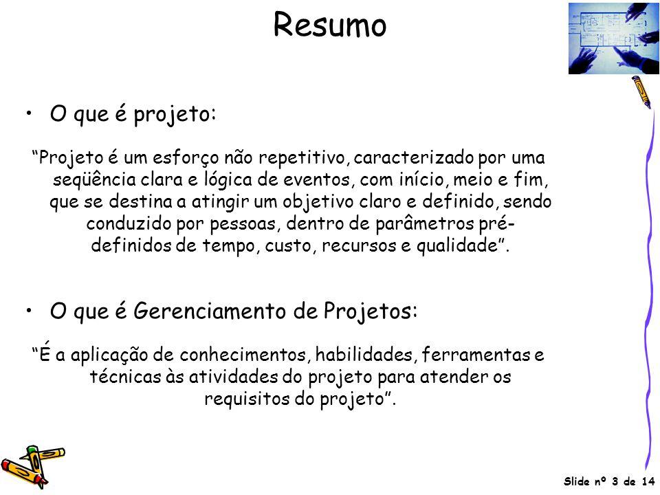 Resumo O que é projeto: O que é Gerenciamento de Projetos:
