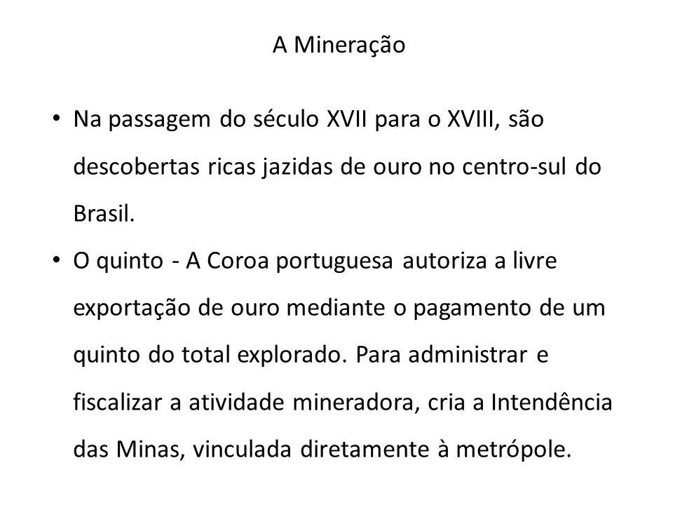 A Mineração Na passagem do século XVII para o XVIII, são descobertas ricas jazidas de ouro no centro-sul do Brasil.