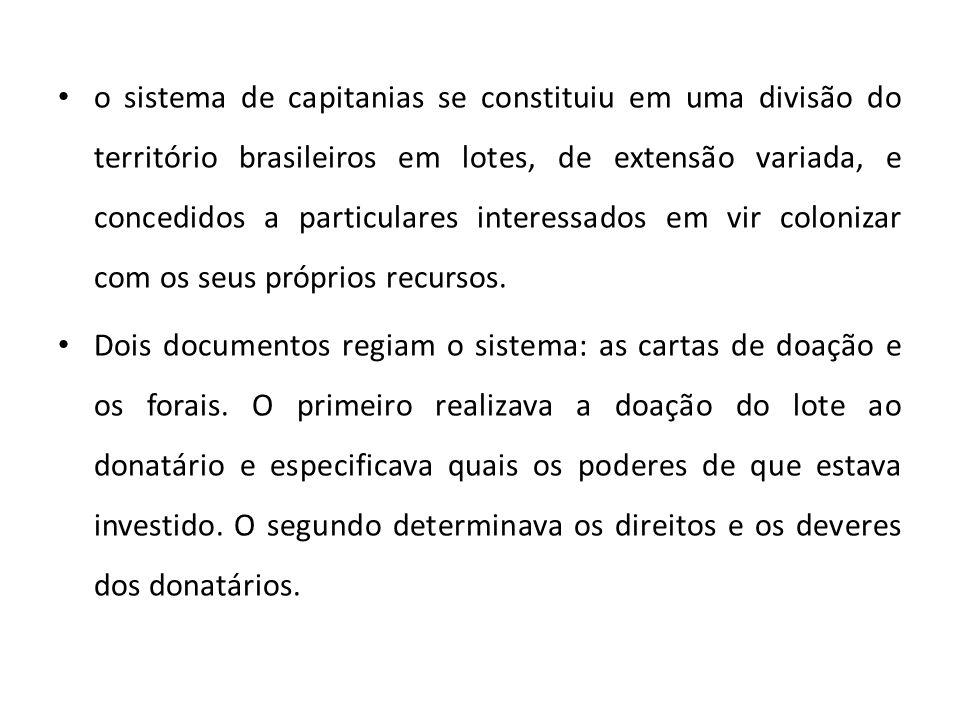 o sistema de capitanias se constituiu em uma divisão do território brasileiros em lotes, de extensão variada, e concedidos a particulares interessados em vir colonizar com os seus próprios recursos.