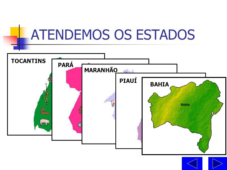 ATENDEMOS OS ESTADOS TOCANTINS PARÁ MARANHÃO PIAUÍ BAHIA