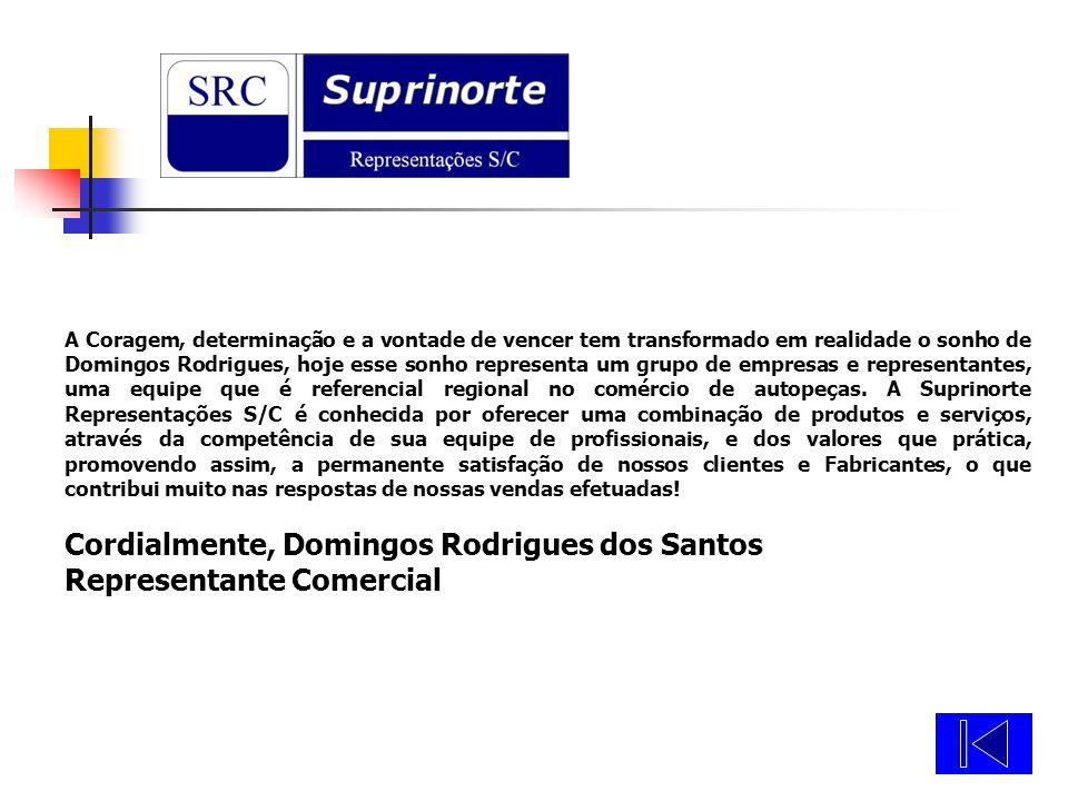 Cordialmente, Domingos Rodrigues dos Santos Representante Comercial