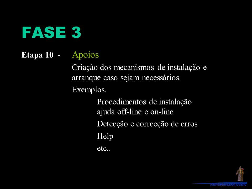 FASE 3 Etapa 10 - Apoios. Criação dos mecanismos de instalação e arranque caso sejam necessários.
