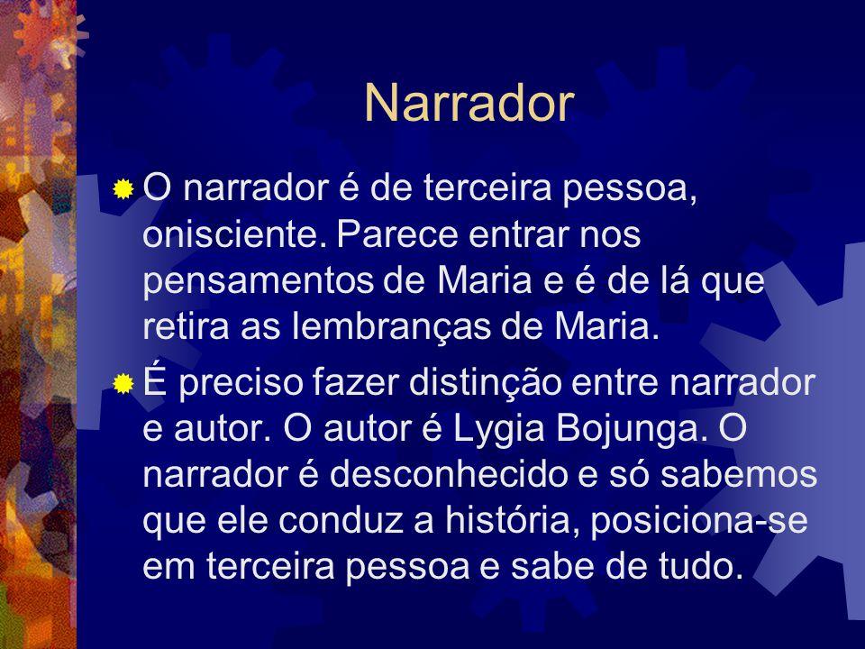 Narrador O narrador é de terceira pessoa, onisciente. Parece entrar nos pensamentos de Maria e é de lá que retira as lembranças de Maria.