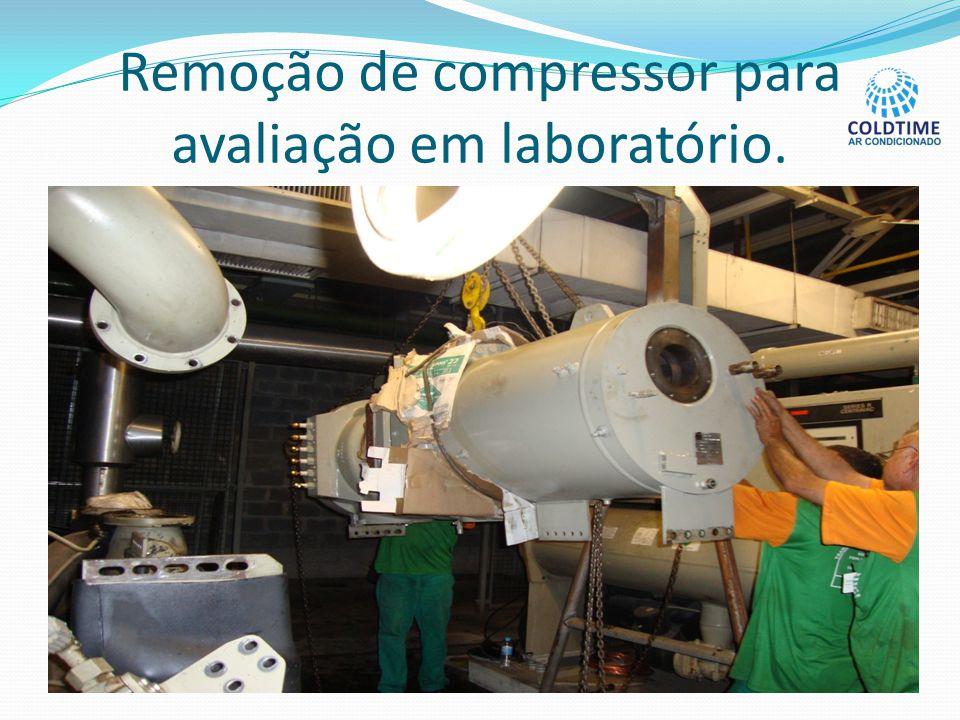 Remoção de compressor para avaliação em laboratório.