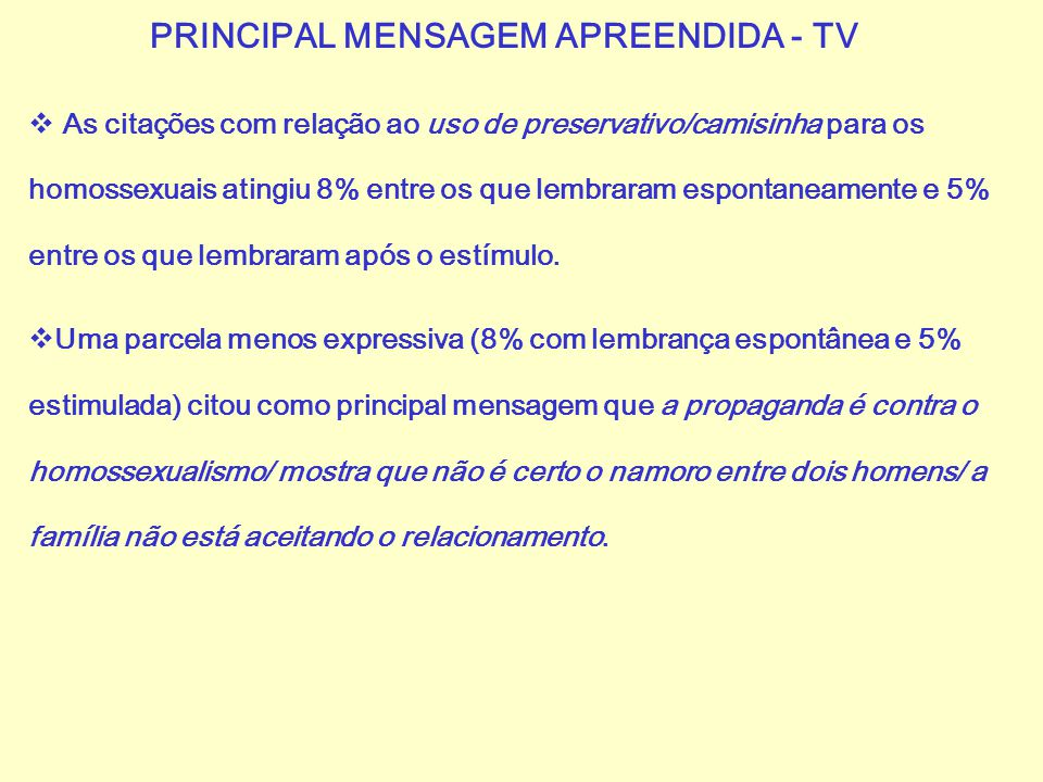 PRINCIPAL MENSAGEM APREENDIDA - TV
