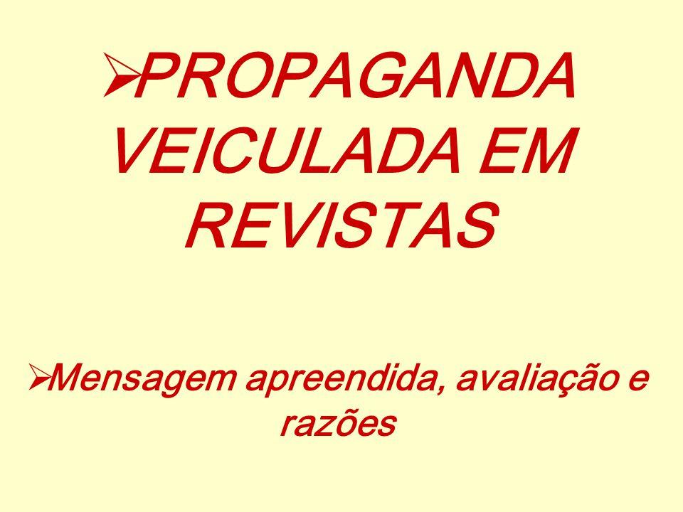 PROPAGANDA VEICULADA EM REVISTAS