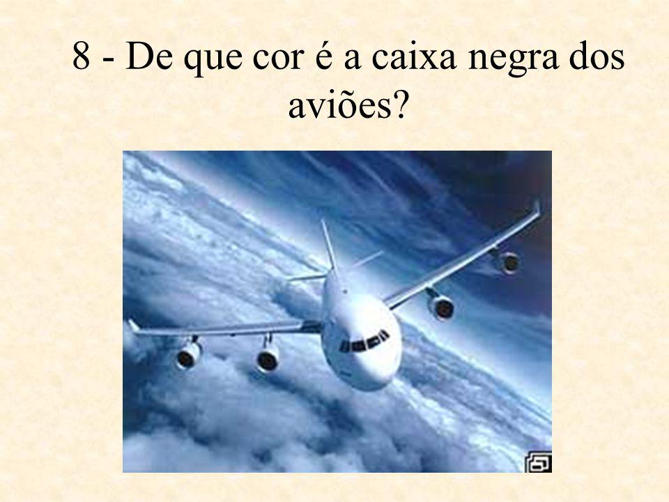 8 - De que cor é a caixa negra dos aviões