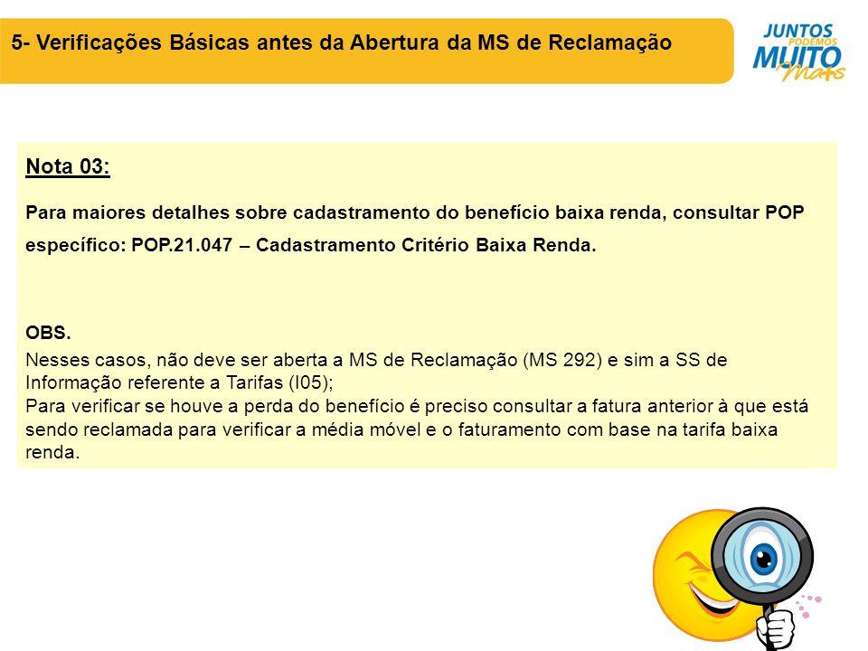5- Verificações Básicas antes da Abertura da MS de Reclamação