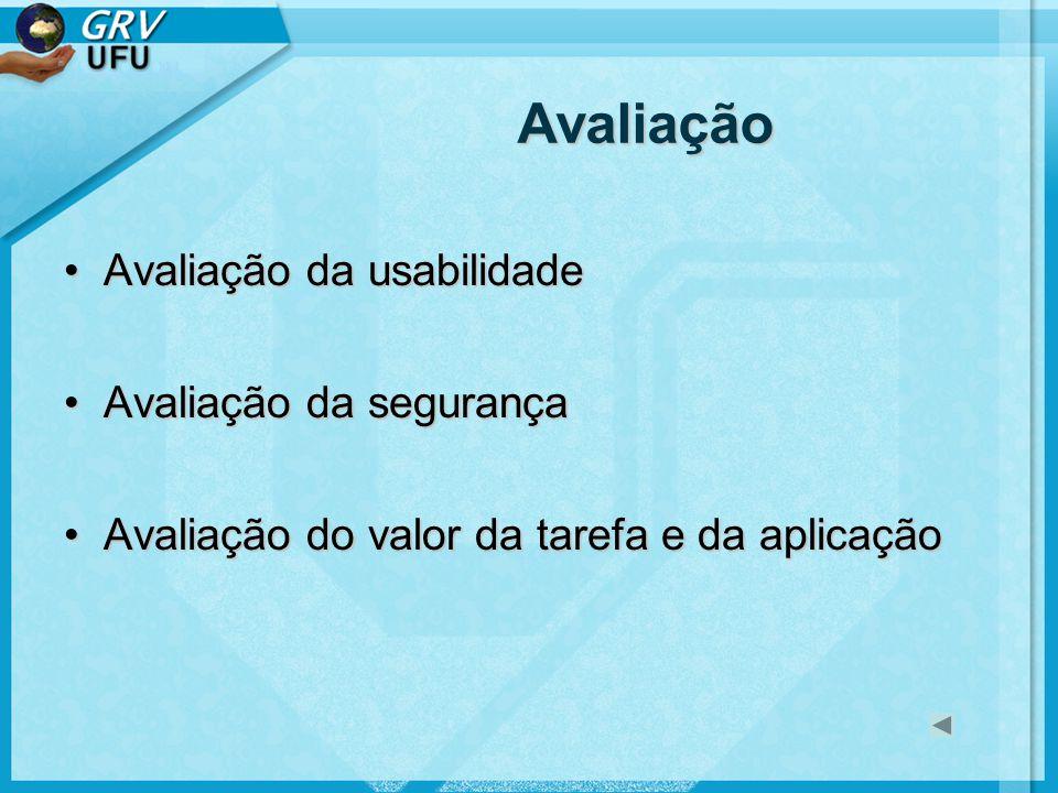 Avaliação Avaliação da usabilidade Avaliação da segurança
